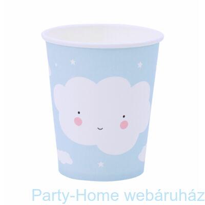 Világoskék Felhő Party -Papír pohár -12 db-os
