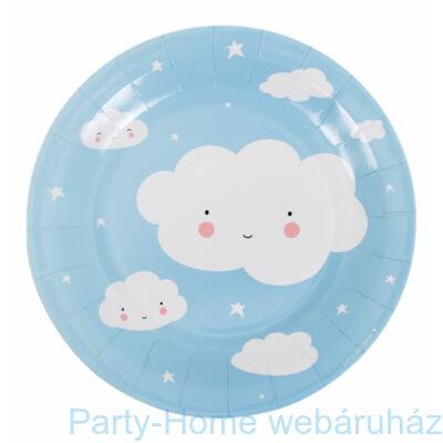 Világoskék Felhő Party -Papír tányér -12 db-os