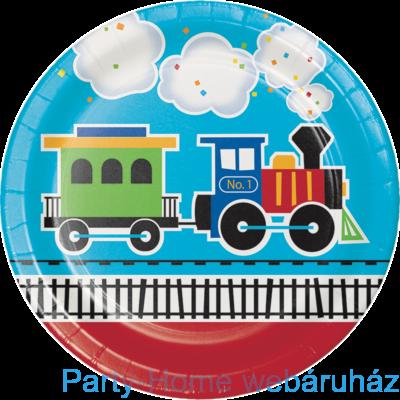 Tiny Train Party - Kisvasút Parti Tányér 23 cm. 8 db-os