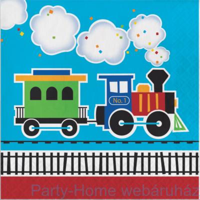 Tiny Train Party - Kisvasút Parti Szalvéta - 33 cm x 33 cm, 16 db-os