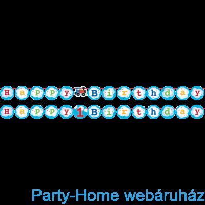 Tiny Train Party - Kisvasút Parti Happy Birthday Girland - 2,21 m
