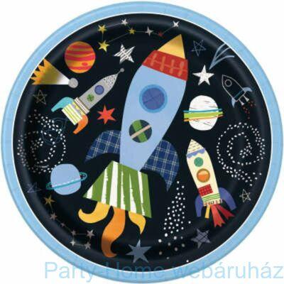 Space Party- Utazás a világűrbe parti tányér 23 cm 8db