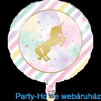 Golden Unikornis Party - Szivárvány Egyszarvú Mintás Fólia lufi 18-inch