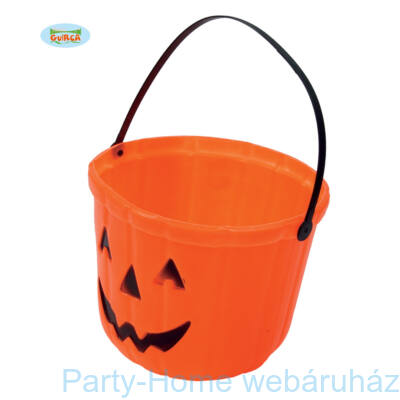 Tökfej Mintás Narancssárga Édességgyüjtő Vödör Halloween-ra 20 cm-es