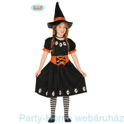 Boszorkány Jelmez Koponya Díszítéssel Gyerek 5 - 6 éveseknek