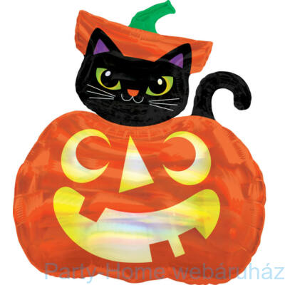 28 inch-es Halloween Pumpkin & Cat Hologramos SuperShape Fólia Lufi