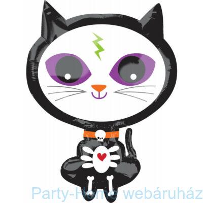 21 inch-es Halloween Skelly Kitty Junior Shape Fólia Lufi