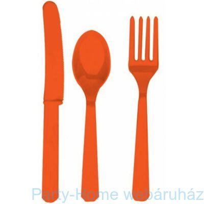 Orange - Narancssárga Műanyag Parti Evőeszköz Válogatás - 24 db-os