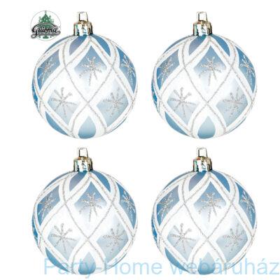 Karácsonyfa Gömb Dísz, Csillámos Hópehely Mintás, 7 cm, 4 db-os