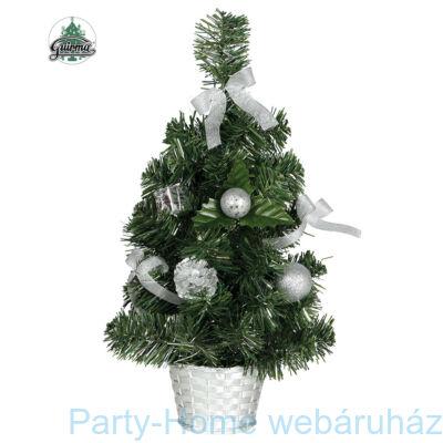 Mini Karácsonyfa Ezüst Díszekkel 30 cm-es