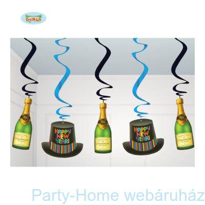 Pezsgős-Kalapos Happy New Year Spirális Függődekor 5 db-os