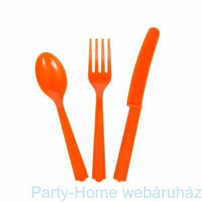 Narancssárga Műanyag Parti Evőeszköz Válogatás - 18 db-os
