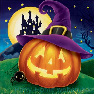 Lila kalapos tökös parti szalvéta halloweenra - 33 cm x 33 cm, 16 db-os