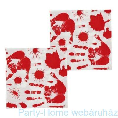 Véres Kézlenyomat Party szalvéta Halloween-re - 33 x 33 cm, 12 db-os