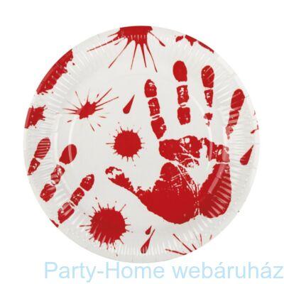 Véres Kézlenyomat Party tányér Halloween-re - 23 cm, 6 db-os