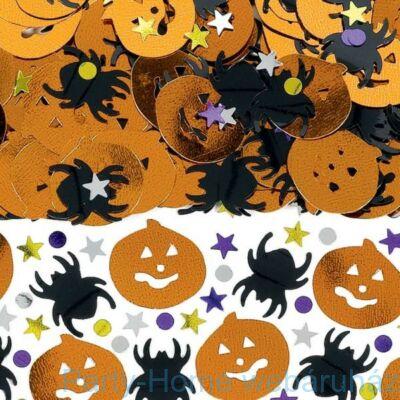 Pók és Sütőtök Mintájú Konfetti Fényes Csillagokkal és Pöttyökkel Halloweenre - 14 gramm