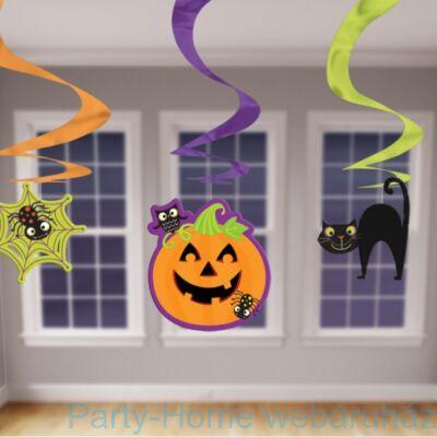 Vidám Tökös, Macskás, Pókos Spirális Függő Dekoráció, 3 db-os