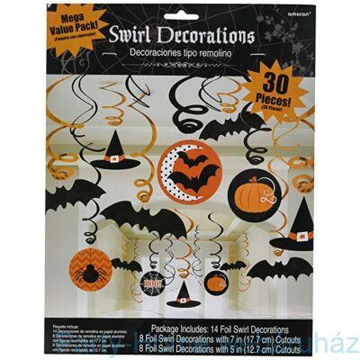 Denevérek, Tökök és Pókok Spirál Függő Dekoráció Halloweenre
