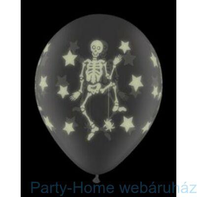 11 inch-es Csontvázas - Glow Skeletons Diamond Clear Lufi