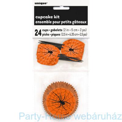 Narancssárga Pókhálós Muffin Tartó Forma + Falatka Pálcika - 48 db-os