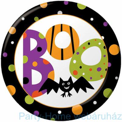 Boo - Pöttyös Denevéres Halloween tányér - 23 cm, 8 db-os
