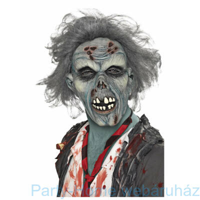 Zombie Maszk Szürke Hajjal