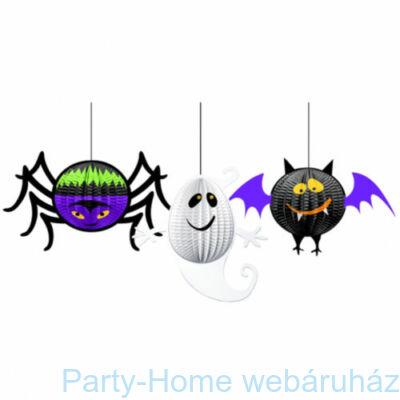 Pók - Denevér - Szellem 3D méhsejt függő dekoráció Halloweenre 3db.-os