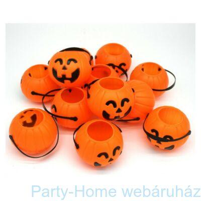 Tökfejes Narancssárga Műanyag Vödör Halloweenre 6 cm
