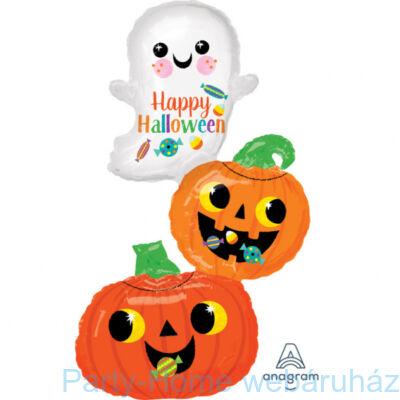 Happy Ghost & Pumpkin Stack Super Shape Fólia Lufi