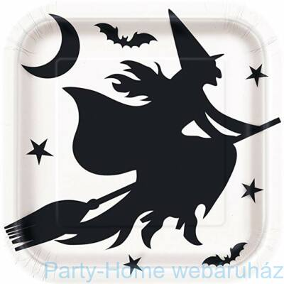 Boszi Seprűnyélen és Fekete Denevér Party Tányér négyszögletes Halloweenre - 23 cm, 8 db-os