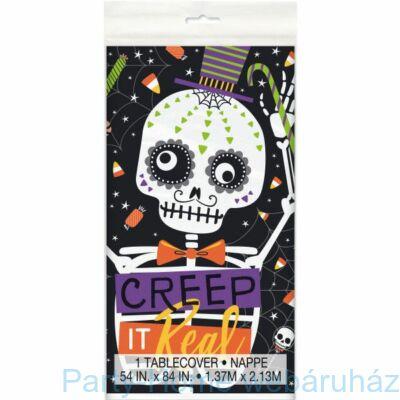 Skeleton Trick or Treat - Mókás Csontváz Csokit vagy Csalunk Asztalterítő 137 cm x 213 cm
