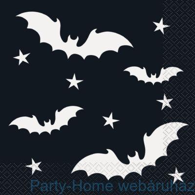 Boszi Seprűnyélen és Fekete Denevér Party Szalvéta  Halloweenre - 33 cm x 33 cm, 16 db-os