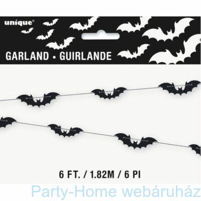 Fekete Denevér Girland Halloweenre - 1,8 m