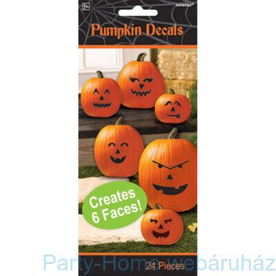 Halloween Mintás Tök Díszítő Matrica, 24 db-os