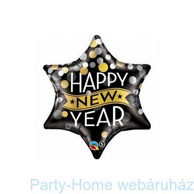 New Year Confetti Dots Black Csillag Fólia Lufi