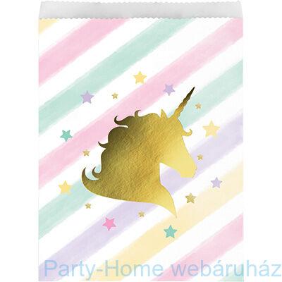 Golden Unikornis Party - Szivárvány Egyszarvú Mintás Papír Ajándékzacskó - 10 db-os