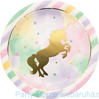 Golden Unikornis Party - Szivárvány Egyszarvú Mintás Parti Tányér - 23 cm, 8 db-os