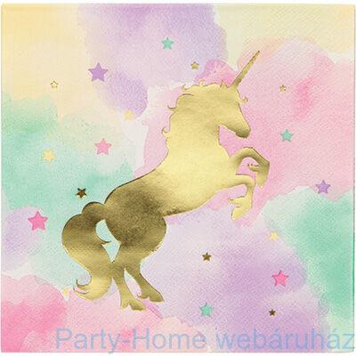 Golden Unikornis Party - Szivárvány Egyszarvú Mintás Parti Szalvéta - 33 cm x 33 cm, 16 db-os