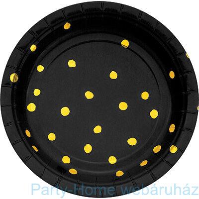Pöttyös tányér fekete-arany 17,8 cm 8db