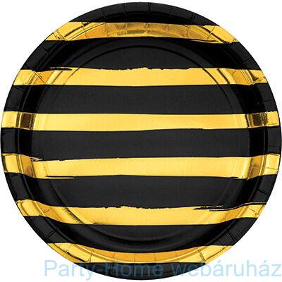 Csíkos tányér fekete-arany 23 cm 8db