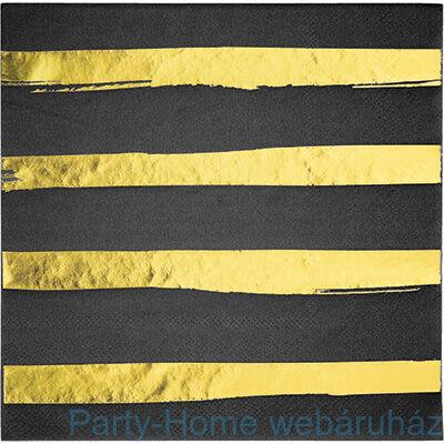Csíkos szalvéta fekete-arany 33 cm x 33 cm, 16 db-os