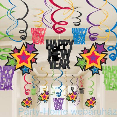 Happy New Year Szilveszteri Arany Ezüst Spirális Függő Dekoráció - 30 db-os