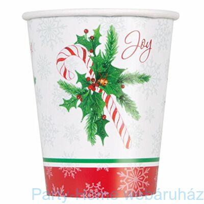 Candy Cane - Cukorpálca Karácsonyi Parti Pohár - 270 ml, 8 db-os
