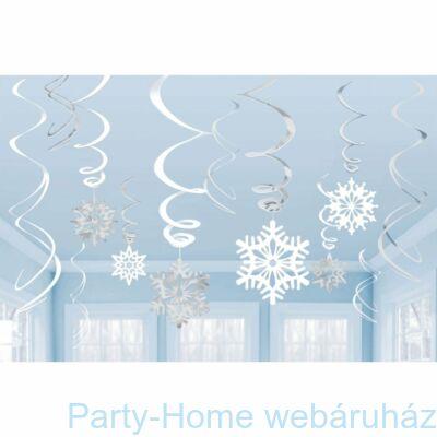 Spirális Hópelyhes Függő Dekoráció, 12 db-os