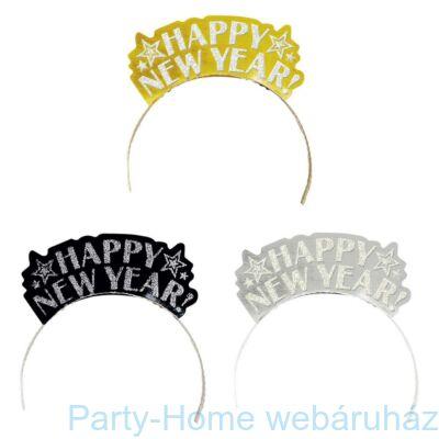 Happy New Year Arany - Ezüst - Fekete Flitteres Tiara Szilveszterre