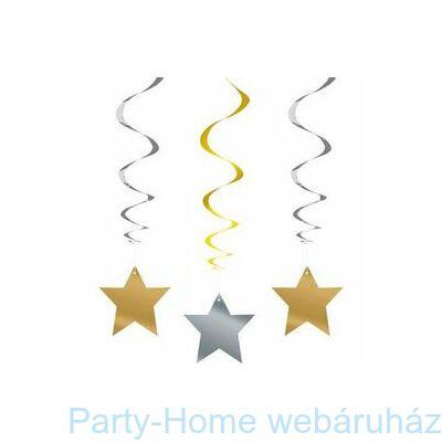 Arany-Ezüst Csillag Spirális Függő Dekoráció