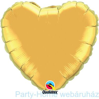 18 inch-es Metallic Gold - Arany Szív Fólia Lufi