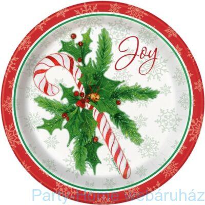 Candy Cane - Cukorpálca Karácsonyi Parti Tányér - 22 cm, 8 db-os