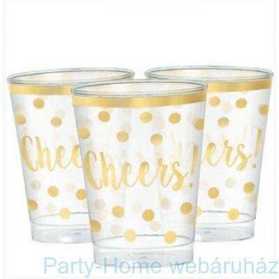 Cheers Feliratú Arany Parti Pohár Szilveszterre - 266 ml 6 db-os