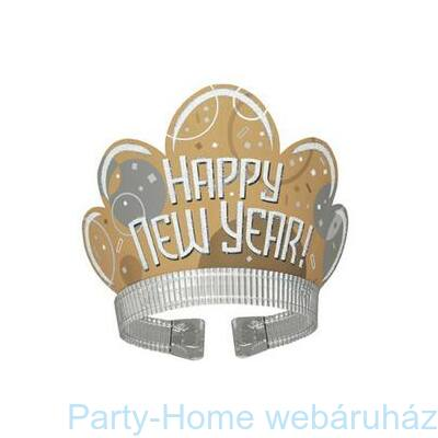 Happy New Year Feliratú Arany Fehér Glitteres Tiara Szilveszterre